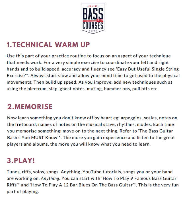 Bass Guitar Practice Checklist