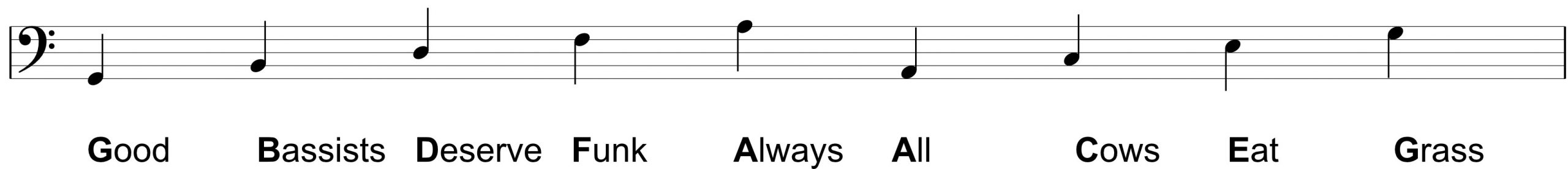 Notes Names on The Bass Clef for bass guitar